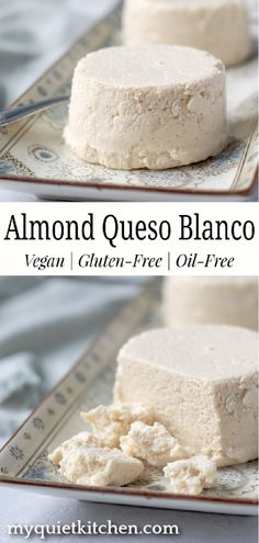 Creamy and mild, this crumble-style almond cheese is perfect for sprinkling on tacos, enchiladas, salads and soups. It's also delicious with spicy Indian dishes. Only 4 ingredients! Almond Cheese Recipe, Vegan Cheese Recipes, Vegan Cheese Sauce, Best Vegan Recipes, Vegan Foods, Vegan Snacks, Vegan Dishes, Dairy Free Recipes, Whole Food Recipes