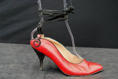 Vintage 70's MAUD FRIZON red leather and black suede shoes sexy ankle strap size 38 by thekaliman