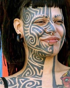 Face Tattoo designs with diffrent Face Tattoo ideas. Tattoo designs of Face Tattoo pictures. Make a tattoo, make your own tattoo designs, tattoo pictures. Bad Face Tattoos, Tribal Face Tattoo, Ta Moko Tattoo, Face Tattoos For Women, Facial Tattoos, Beautiful Tattoos For Women, Funny Tattoos, Body Art Tattoos, Tribal Tattoos