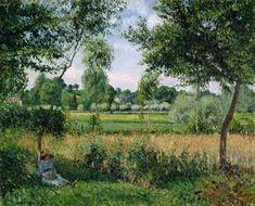 Morning Sunlight Effect at Eragny Painting  - Pissarro