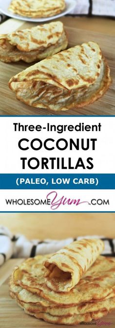 Low Carb Paleo Tortillas with Coconut Flour Ingredients) - coconut flour, eggs and almond milk. This easy, paleo, low carb tortillas recipe with coconut flour requires just 3 ingredients! These gluten-free wraps are also healthy, keto & vegetarian. Coconut Recipes, Gluten Free Recipes, Low Carb Recipes, Whole Food Recipes, Cooking Recipes, Healthy Recipes, Snacks Recipes, Keto Snacks, Gluten Free Tortilla Recipe Coconut Flour