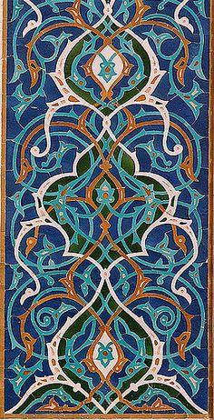 Detail of tilework, Jameh Mosque, Yazd Iran Islamic Motifs, Islamic Art Pattern, Pattern Art, Persian Pattern, Persian Motifs, Persian Architecture, Art And Architecture, Tile Art, Mosaic Art