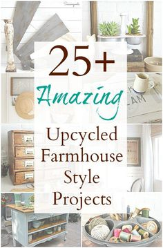 Create your own Fixer Upper farmhouse decor with inspiration from this AMAZING collection of DIY repurposed and upcycled projects that Sadie Seasongoods compiled. From do-it-yourself windmill wall decor, to framed grain sacks, to DIY tables and trays, and so much more. Modern farmhouse style for your home decor, all with a vintage, DIY spin. Get all these ideas and more at www.sadieseasongoods.com