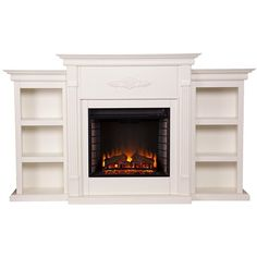 Tennyson Electric Fireplace w/ Bookcases Ivory ($572) ❤ liked on Polyvore featuring home, home decor, fireplace accessories, ivory electric fireplace and antique white electric fireplace