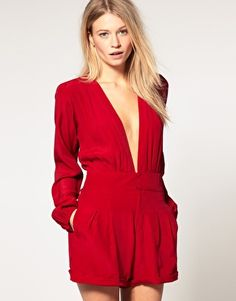 Motel Jet Playsuit With Low Neck