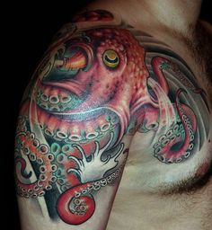 Amazing red blue octopus tattoo, tentacles, water, ocean. Artist unknown. :(