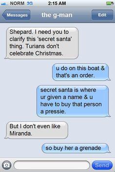 Garrus, Secret santa, miranda, mass effect meme - So buy her a grenade