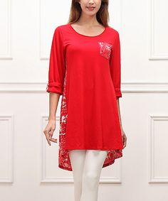 Look what I found on #zulily! Red Hi-Low Pocket Tunic by Reborn Collection #zulilyfinds