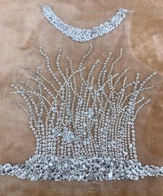 handmade silver sew on silver hinestones applique on mesh peal crystals trim patches for wedding dress accessories Tambour Beading, Tambour Embroidery, Bead Embroidery Patterns, Hand Work Embroidery, Couture Embroidery, Embroidery Fashion, Embroidery Jewelry, Hand Embroidery Designs, Couture Beading