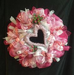 Valentines Day Pink Glitter Heart Mesh by LakesCountryDesigns