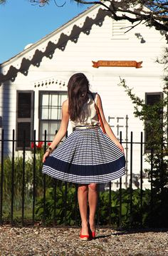 Classy Girls Wear Pearls: Barrington Boathouse {Look for the ruffled blouses and long skirts; also, espadrille wedges are popular}