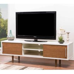 Gemini Wood Contemporary TV Stand for TVs up to 66""