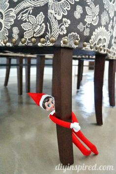Two Dozen Easy Elf on a Shelf Ideas for that fun Christmas countdown family tradition. Use stuff from arund the house to make life easier! Christmas Countdown, Christmas Elf, Xmas, A Shelf, Elf On The Shelf, Shelves, Cute Christmas Ideas, Holiday Ideas, Chrissy Snow
