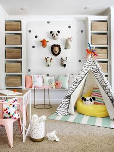 6 Totally Fresh Decorating Ideas for the Kids' Playroom Kristin Jackson, Hun. 6 Totally Fresh Decorating Ideas for the Kids' Playroom Kristin Jackson, Hunted Interior Playroom Design, Playroom Decor, Kids Room Design, Kids Decor, Small Playroom, Attic Playroom, Playroom Seating, Playroom Shelves, Children Playroom