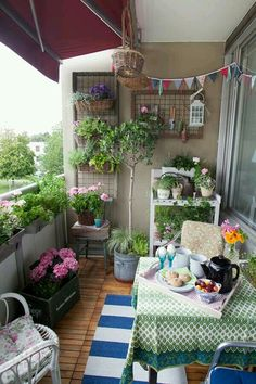 Apartment Patio Garden With Wall.