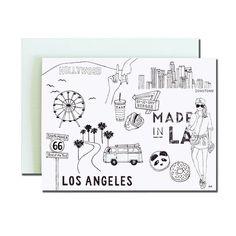 Los Angeles Greeting Card. Stylish Card. Illustration card. Print of my Original Illustration with Ink and Watercolor. by akrDesignStudio on Etsy https://www.etsy.com/listing/241345164/los-angeles-greeting-card-stylish-card