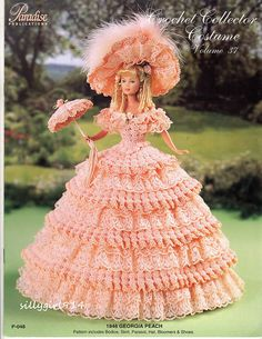 Paradise Publications Georgia Peach Vol Crochet Pattern Booklet Designed by Sandra Peach. Finished outfits dress Barbie and other fashion dolls. Crochet Barbie Patterns, Crochet Doll Dress, Crochet Barbie Clothes, Doll Dress Patterns, Costume Patterns, Clothing Patterns, Dress Barbie, Barbie Gowns, Barbie Doll
