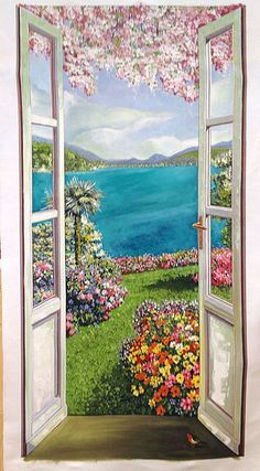 A window on a world of colors ! - All About Balcony Watercolor Landscape, Landscape Art, Landscape Paintings, Watercolor Art, Small Canvas Art, Easy Canvas Art, Beautiful Landscape Wallpaper, Beautiful Paintings, Cottage Art