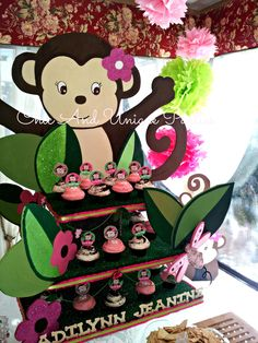 GORGEOUS Girl Monkey (3 Tier) Cupcake Stand by Chic & Unique Parties