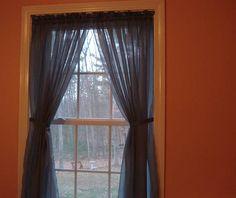 Mystique Blue Color Sheer curtains 60 x 70 Shabby Chic Curtains, Diy Curtains, Sheer Curtains, Window Coverings, Windows, Blue, Color, Home Decor, Decoration Home