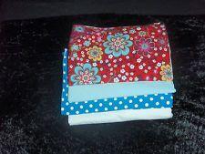 Stoffpaket Jersey  Rot Blumen Türkis Tupfen Uni Weiß Hellblau