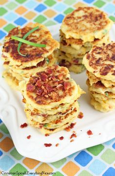 "Cauliflower Fritters ""They are similar to a potato pancake with creamy, cheesy insides and crispy outsides with chewy bits of salty bacon throughout mingled with the spicy zing of jalapeno peppers."""
