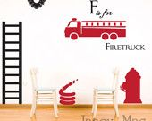 Firetruck with Name Wall Decal - Custom Children's Boy Bedroom Vinyl Sticker - Fire Truck Wall Decor - CM141A. $19.50, via Etsy.