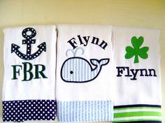 Baby Boy Monogram | Baby Boy Monogrammed Burp Cloth Set with an Anchor, Shamrock & Whale