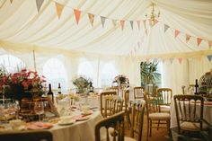 adorable tented reception setup // banner