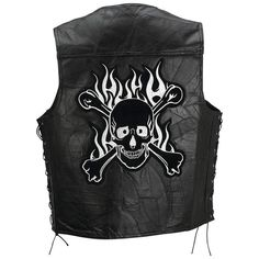 Rock Design Genuine Buffalo Leather Motorcycle Vest with Skull and Crossbones #none