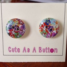 Bright multicolour abstract floral print wooden button earrings  http://www.facebook.com/cuteasabuttonni