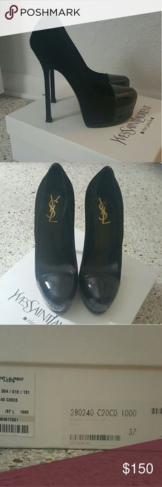 Yves Saint Laurent suede and patent leather heels Brand new. Only worn around the house a couple times. I have a pair that look exactly like them and I really don't need them. Comes new with box and dust bag. Super cute. Fairly easy to walk in. Possible trade especially for louboutins. Yves Saint Laurent Shoes