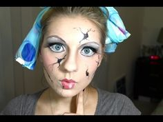 Cracked Doll Halloween Makeup - YouTube