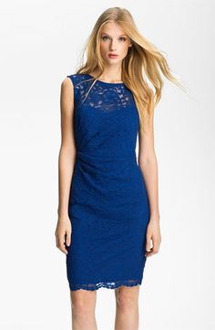 Xscape Illusion Yoke Lace Sheath Dress $175.0 by nordstrom