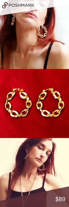 "Vintage Gold Rope Chain Oversized Earrings Dramatic Vintage 1970s Gold-Plated Rope Chain Oversized Clip-Back Earrings. Totally Studio 54! Measure approximately  2"". In great vintage condition, with minor wear to the gold plating. Vintage Jewelry Earrings"
