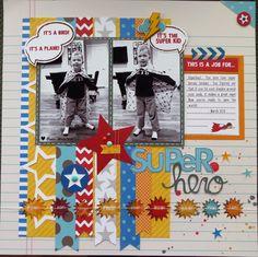 Skrapaddict's Gallery: Pebbles Super Hero layout for Book week Scrapbook Layout Sketches, Scrapbooking Layouts, Scrapbook Cards, Picture Scrapbook, Scrapbook Designs, Scrapbook Generation, Baby Boy Scrapbook, Kids Pages, Photo Layouts