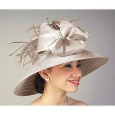 church hats for women | Peach Satin Ribbon Beige Satin Ribbon Church Hat