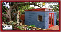 modern-shed - office - studio Backyard Office, Backyard Studio, Garden Office, Prefab Buildings, Garden Buildings, Prefab Sheds, Studio Shed, Tiny House Blog, Modern Shed