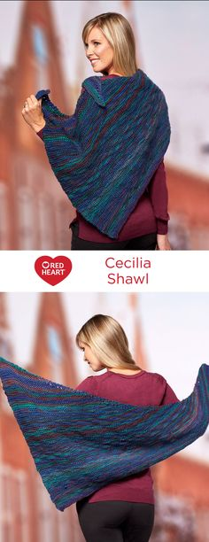 Cecilia Shawl Free Knitting Pattern in Red Heart Yarns -- This knit triangle shawl features a different measurement on each of its three sides. This makes for a more graceful wrap around your shoulders or can be worn as a scarf.