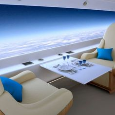 Private supersonic passenger plane with a panoramic view, but no windows.