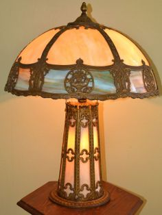 Ornate Slag Glass Lamp with Lighted Base