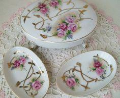 Rose Dresser Box Set-Vintage Porcelain Shabby Chic Pink Rose Dresser Vanity Jewelry Box Pin Dishes Set