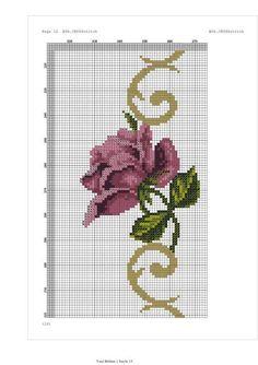 Cross Stitch Rose, Cross Stitch Flowers, Cross Stitch Patterns, Mosaic Flowers, Rico Design, Fair Isle Pattern, Prayer Rug, Little Designs, Purple Roses
