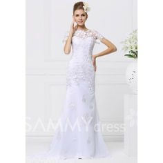 $361.13 Elegant Bateau Neck Short Sleeves Appliques Embroidery Women's Mermaid Court Train Wedding Dress