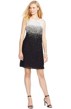 Lauren Ralph Lauren Ombré Embellished Georgette Sheath Dress (Regular & Petite) available at #Nordstrom