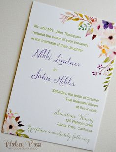 Beautiful watercolor Floral PRINTED wedding by ChelseaPress Etsy