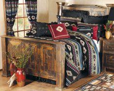 Rustic Pinewood Bed - Queen