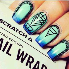 Tribal nail art, blues, cute nails, tribal designs, black and blue Fabulous Nails, Gorgeous Nails, Pretty Nails, Amazing Nails, Tribal Nails, Diva Nails, Diy Nail Designs, Cute Nail Art, Hot Nails