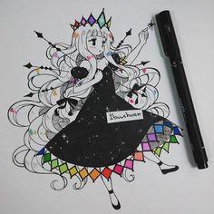 """Ella es Nova y es una estrella, la pobre extraña a su amiga que ya no esta en el firmamento. """"Painted with bic marking and inked with uni pen"""" #originalcharacter #ink #colors #monochrome #traditional #instaanime #instadraw"""