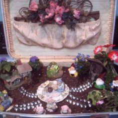Fairy garden I made in a vintage suitcase for my little nieces.